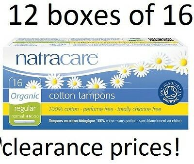 12 boxes of 16 Natracare Organic Cotton Tampons - Regular with Applicator