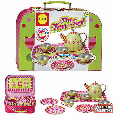 ALEX Toys Tin Childs Tea Party Set Teapot With Lid Cups Saucers Plates Dishes