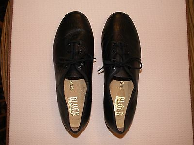 Women's BLOCH Tap Shoes Size 10 Tie up Black Leather Upper, Lining & Sole~~EUC~~