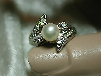 Vintage sterling ring 6.7 mm cultured pearl & rhinestones SZ 8 PRETTY! f69p18