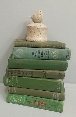 Vtg / Antique Lot Of 7 Green Old Decorative Instant Library Display 1904 & +