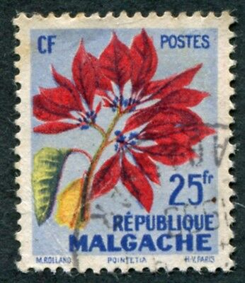 MALAGASY REPUBLIC 1959 25f SG3 used NG Tropical Flora Poinsettia #W32
