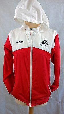 Swansea City AFC red and white hooded rain jacket LB Large Boys (11-12 years app
