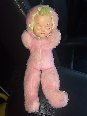 VINTAGE PINK BABY GIRL DOLL BONNET SLEEPY SHUT CLOSED EYES MUSICAL WIND UP Works