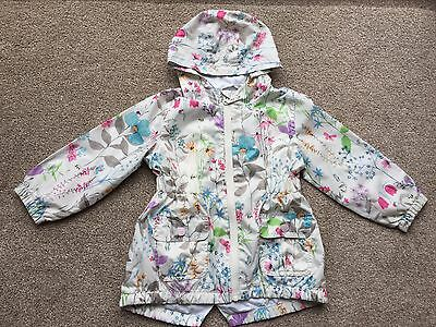 NEXT girls 2-3 years raincoat off white bright floral cotton lined