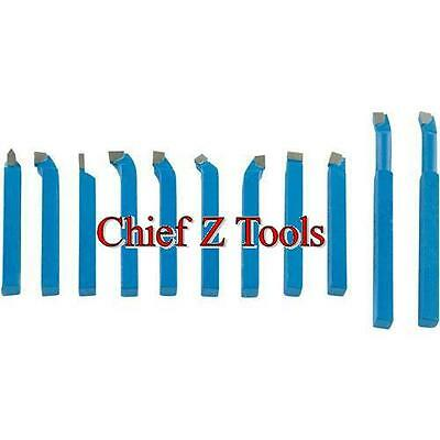 "NEW 11pc Metal Lathe Carbide 5/16"" C2 Cutter Tooling Turning Parting Bit Set 1"