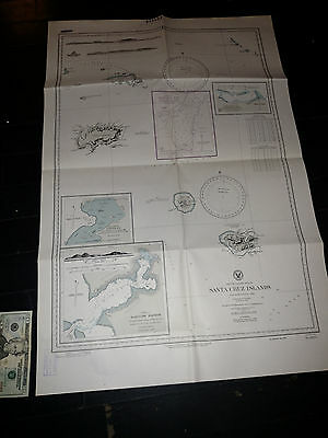 Antique Vintage US Navy Nautical Chart Aeronautical Map Santa Cruz Islands Pacif