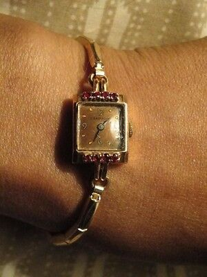 1940's CRAWFORD NY 14K ROSE GOLD & RUBY LADIES WATCH