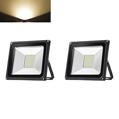 2X 50W LED Floodlight Outdoor Security Garden Lamp IP65 LED Light Warm White