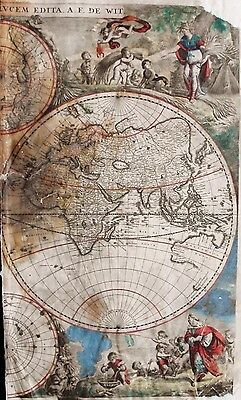 1670, Original De Wit World Map, Considerably Rare Map In Need Of Repair