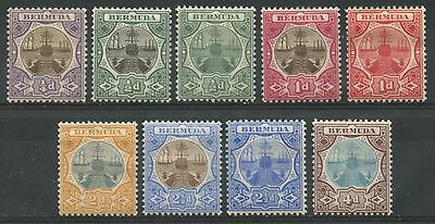 BERMUDA Sc#31-39 1906-10 Dry Dock Complete Set of Nine 1/4p to 4p Mint H