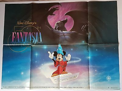 Fantasia Original UK Quad 50th Anniversary Poster 90s Micky Mouse