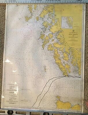 Vtg C&GS NOAA ALASKA CANADA Nautical Wall Map Russian English AT&T Phone Cable