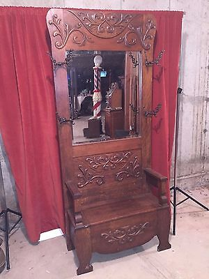 Antique Quartered Golden Oak Hall Seat Coat Tree Victorian Depression