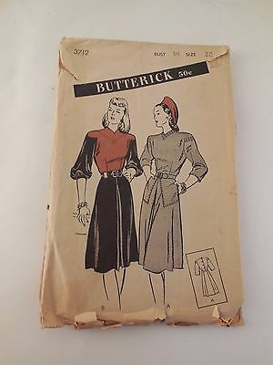 Vintage Butterick 1950s  Dress Sewing Pattern 20/38
