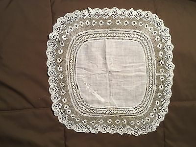"Antique Wedding  Hanky Handkerchief 141/2"" X 141/2"" Sweet Lace Vintage Repair"