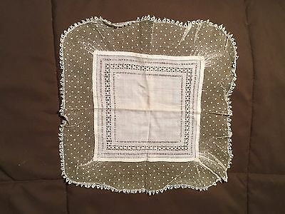 "Sweet Vintage Dotted Lace  W/ Tatting Edge Wedding  Hanky Handkerchief 11"" X 11"""
