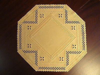 Tableclouth Hardanger yellow sun embroidered 21,6 x 21,6 inch handmade & New