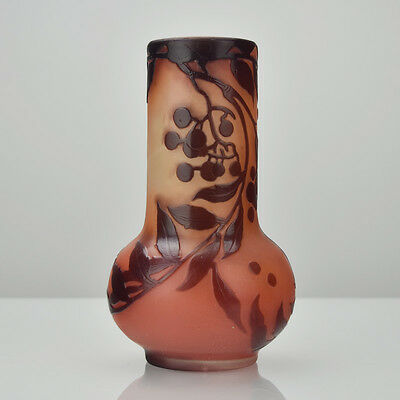 Rare Ca 1890 Antique Emile Galle Oxblood Over Apricot Cameo Vase Signed