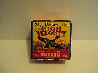 Vintage Peters High Velocity Magnum 12 Gauge Shotgun Shell Box