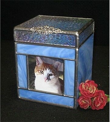 Pet Urn, Dog, Cat, Sharing, Stained glass blue (small)