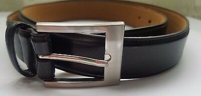 Men's Black Genuine Leather Belt, Size 46,  Brushed Stainless Buckle