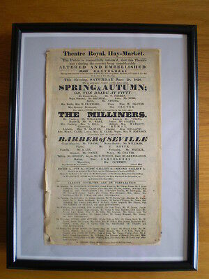 GENUINE ANTIQUE 1828 RARE THEATRE HAND-OUT for THEATRE ROYAL HAYMARKET