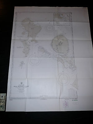 Antique Vintage US Navy Nautical Chart Aeronautical Map  New Georgia Islands Pac
