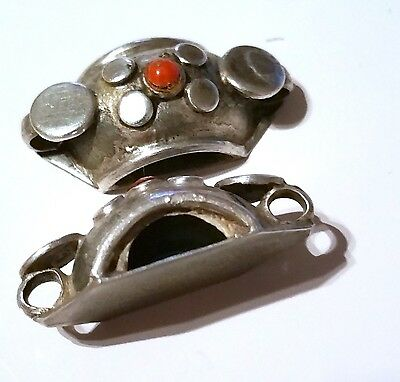 Vintage Two Old Silver Connectors with Natural coral Seed in the middle