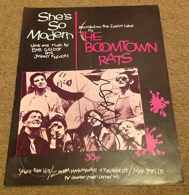 BOOMTOWN RATS  -  BOB GELDOF SIGNED  COL  SHEET MUSIC - 10 x 8 Ins  -  AUTHENTIC