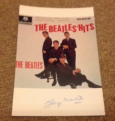 GEORGE MARTIN -  BEATLES HITS - SIGNED COL PHOTO  - 6 x 4 Inches   -  AUTHENTIC