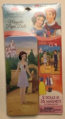Disney Princess Snow White And The 7 Dwarfs & Prince Magnetic Paper Dolls W/ Tin