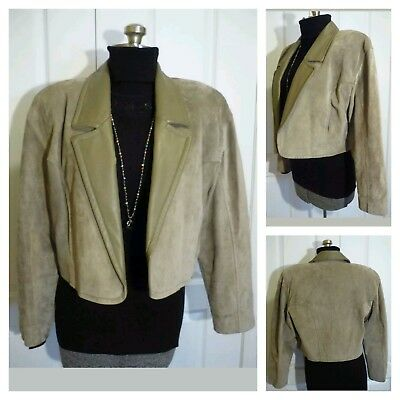 VTG 80s Danier L Open Front Cropped Suede Jacket with Leather Trim Shoulder Pads