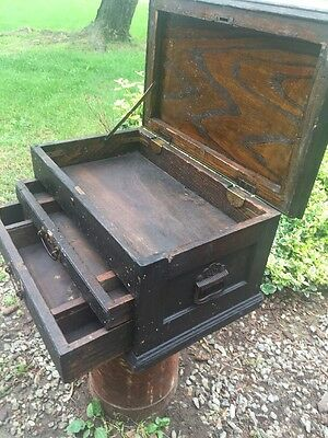 Turn Of The Century Vintage Primitive Rustic Wood Carpenters Tool Box Chest
