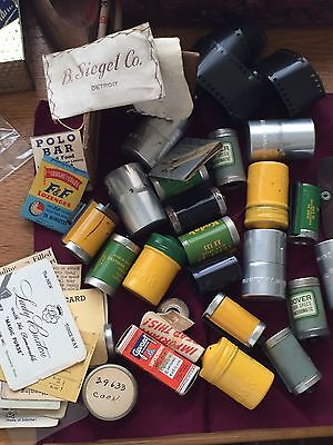 Mixed Lot Vintage 35mm Metal Canisters Aluminum Exposurematches Id Cards Film ++