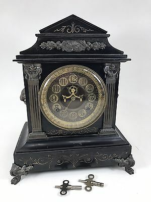 Antique 1880s ANSONIA TIMBREL 8 Day Mantle Clock Black Enameled Iron Lion Claw