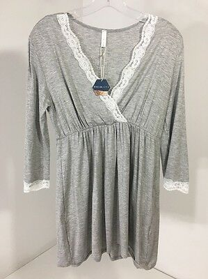 Pinkblush Maternity Women's Lace Trim Pajama Top Heather Gray Medium Nwt