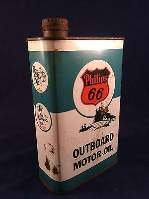 Vintage Phillips 66 Outboard Motor Oil 1 U.S. Quart Can Gas & Oil Tin Boat
