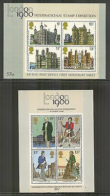 Great Britain #834a/874a, London 1980 International Stamp Exhibition SS4 (x2) NH