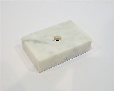 Vintage White Marble Trophy Bases Italy - 1 Hole/Countersunk - (2 x 3 x 3/4 in)