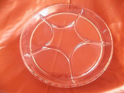 clear glass round condiment relish plate platter with 6 sections wavy rim