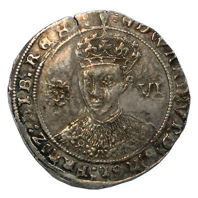 Edward Vi, Sixpence, Fine Silver Issue, Mm Tun,