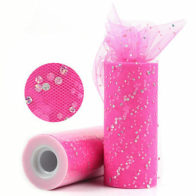 25yd Shocking Pink Sequin Tulle Roll Spool Tutu Wedding Party Decoration Fabric