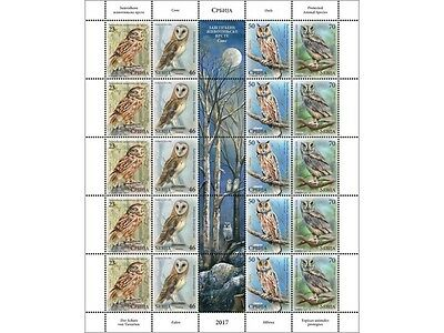 SERBIA 2017 - Protected animal spieces - Owls - Fauna - WWF Mint sheetlet