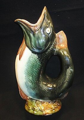 Early Large Majolica Gurgling Fish Pitcher NR