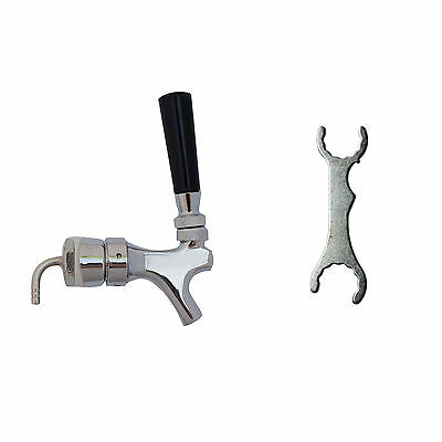 "Draft Beer Tower Faucet and Shank Set + FREE Beer Wrench! Chrome Brass 3"" Tower"