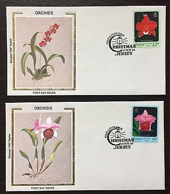 """Jersey #282-3 - Orchids/Christmas 1984 FDC on Colorano """"silk"""" Cachets"""
