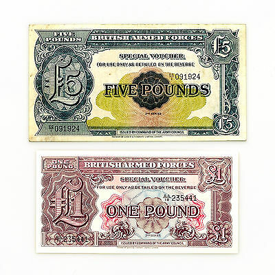 Set of 2 diff. Great Britain UK BAF 2nd Series 1 Pound Au-Unc. & 5 Pounds vf