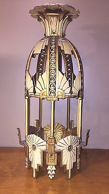 Vintage Art Deco Beardslee Cast Aluminum Chandelier  1 day