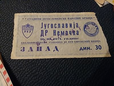 Yugoslavia East Germany 1971 football ticket EURO 1972 qualifications